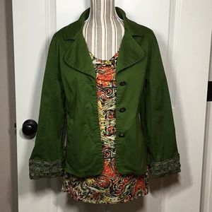 LAL (Live a Little) Green Cotton Jacket- size XL